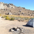 Dispersed campsite in the Buttermilks, California.- Dispersed Camping on Public Lands