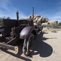 Old car near the Wonderland Ranch along the Wall Street Mill Hike.- Guide to Hiking in Joshua Tree National Park