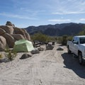 Typical campsite at Indian Cove Campground.- A Guide to Camping in the Mojave Desert
