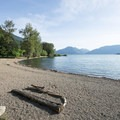 Swim beach at Green Point Day Use Area.- Sasquatch Provincial Park