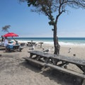 Picnic and barbecue area at Sycamore Cove Beach.- Guide to Camping on the Southern California Coast