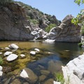 Deep Creek Canyon swimming hole 0.5 miles upstream from Devil's Hole.- Guide to Silverwood Lake Recreation Area