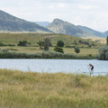 Stand-up paddleboarder on the Gravel Ponds at Chatfield State Park.- Chatfield State Park