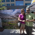 Outdoor Project's Denver-based Contributor Fernando Boza and lady friend pose with his photo from the Indian Peaks Wilderness.- Outdoor Project's 2017 Block Party Series