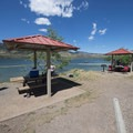 Picnic shelters/area at Sunrise Day Use Area, Horsetooth Reservoir County Park.- Horsetooth Reservoir County Park