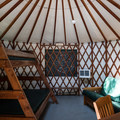Interior of a standard yurt at Harris Beach State Park Campground.- Camping on the Southern Oregon Coast