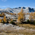 """The """"lower"""" Upper Enchantment area. Looking at Little Annapurna on the left and Dragontail Peak to the right.- 15 Perfect Day Hikes to Find Fall Foliage"""