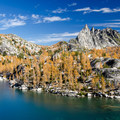The view of Inspiration Lake and Prusik Peak while decending down into the Lower Enchantments.- Best Hikes for Fall Colors in Washington