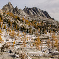 Looking down the Lower Enchantment area with Prusik Peak and the Temple in the background.- Best Hikes for Fall Colors in Washington