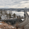The Hudson River and the Mid-Hudson Bridge from Franny Reese State Park in New York.- State and County Parks and Forests
