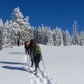 The southeast ridge of the Watchman makes for a straightforward and easy route.- A Crater Lake Winter Overnight