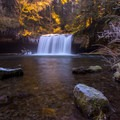 Some frozen foliage and rocks are about to be softened by the warm light rising.- Butte Creek Falls Hike