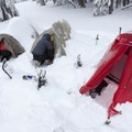 Winter campsite sheltered from the wind.- Winter Adventures in Crater Lake National Park