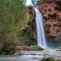 Havasu Falls in the afternoon.- Havasu Falls Hike via Havasupai Trail