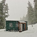 Barlow Butte Hut blanketed in snow.- 12 Reasons to Visit Mount Hood in the Winter
