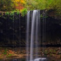 Beaver Falls in autumn at low flow.- Beaver Falls