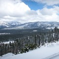 The trail to Angora Lakes passes a view of Jobs and Freel peaks.- Best Snowshoe Trails in Tahoe's Backcountry