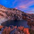 Beautiful sunrise over Inspiration Lake.- Enchantment Lakes Hike via Colchuck Lake