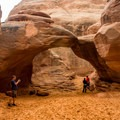 Sand Dune Arch along Broken Arch Trail is small but interesting.- Canyonland Country: Best Hikes Near Moab