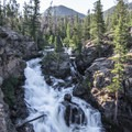 The view of Adams Falls from the stony viewpoint.- Colorado's Best Kid-Friendly Snowventures