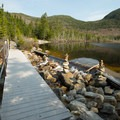 The boardwalk along the southern edge of Lonesome Lake.- Incredible Adventures in New Hampshire's White Mountain National Forest
