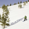Riding the west face of Donner Ridge into Johnson Canyon (formerly called Negro Canyon).- Ski Guide to Lake Tahoe's Backcountry