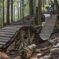 Wooden features along Lower Ladies.- Mountain Biking in British Columbia