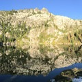 Little Bear Lake reflections.- Hiking in the Trinity Alps