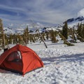 Campsite at timberline, approximately 6,800 feet.- Middle Sister, East Approach