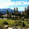 Meadow below Alpine Lake.- Hiking in the Trinity Alps