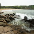 Waves crash along the rocky western edge of the beach.- 3-Day Itinerary in Acadia National Park