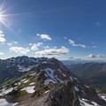 View over Goat Lake to Mount Rainier.- Goat Lake via the Snowgrass Trailhead