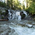 One of the many waterfalls along the Boulder Lakes Trail.- Hiking in the Trinity Alps