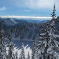 Lake Valhalla from the 5,100-foot saddle.- Amazing Snowshoe Trails in Washington