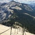 Even with the cables up, the route is steep and exposed.- Climbing Half Dome In The Shoulder Season