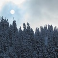 Sun hanging to the southwest.- Great Snowshoeing Near Seattle