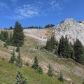 A look uphill on the initial ascent from the trailhead at Lake Marie.- Medicine Bow Peak Loop