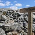 Signage leading to Medicine Bow Peak near the summit.- Medicine Bow Peak Loop