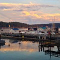 A view of the water from the town of Friday Harbor.- San Juan Islands