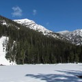 Lake Elizabeth from the south shore.- Great Snowshoeing Near Seattle