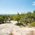 The trail quickly opens to sparse vegetation and stunning views.- Cadillac Mountain South Ridge Trail