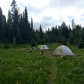 Lake Magog Campground tent platforms and food-safe hoists.- 70 Breathtaking Backcountry Campsites