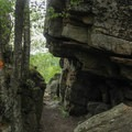 Rock caves on the summit.- Exploring Chimney Mountain in the Adirondacks