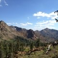The southwest view of the Red Trinities from Bee Tree Gap.- Hiking in the Trinity Alps