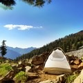 A sheltered camping spot near Diamond Lake.- Hiking in the Trinity Alps