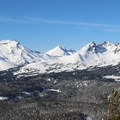 The view to the west from Tumalo Mountain's summit: left to right, South Sister (10,358 ft), Middle Sister (10,047 ft), North Sister (10,085 ft), and Broken Top (9,177 ft).- 10 Amazing Snowshoe Trails in Oregon