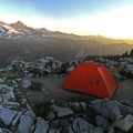 Backcountry campsite with a view near The Castle.- Pinnacle Peak + The Castle
