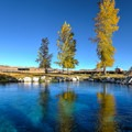 Autumn colors reflect on the emerald water at Big Warm Spring in Nevada.- The Best Leaf-Peeping Adventures for Fall Foliage