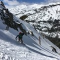 Riding the gully on Angora Peak.- The Ultimate Ski Guide to Tahoe's Backcountry
