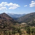 Views west from near Stonewall Pass include Van Matre Meadows.- Hiking in the Trinity Alps